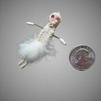 Tiny Composition Halloween Skeleton, Wire Limbs, Circa 1920