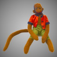 Large Folk Art Stuffed Monkey with Button Eyes Dressed in Clothes