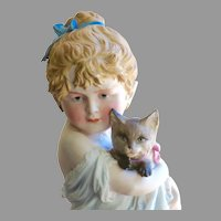 Large Antique Bisque Girl with Cat Circa 1880, 10""