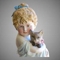 "Large Antique Bisque Girl with Cat Circa 1880, 10"""