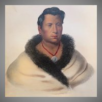 Antique Mckenney and Hall Lithograph Ong-Pa-Ton-Ga, Native American Indian Chief