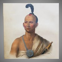 Antique Mckenney and Hall Lithograph of Kai-Pol-E-Qua, Native American Indian Brave