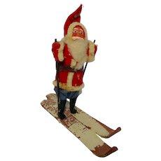 Vintage Cotton Santa Claus on Skis