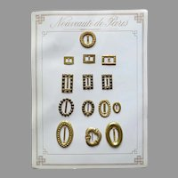 French Doll Accessories Card of 14 Belt Buckles