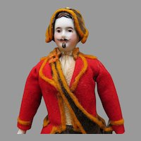 Parian Soldier Dollhouse Doll, All Original with Moustache, Goatee and  Sword, Circa 1890
