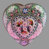 Antique Victorian Micro Mosaic Heart Pin Marked FAP Circa 1900