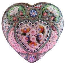 Antique Victorian Micro Mosaic Heart Pin Marked FAP Circa 1900