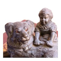 Antique Metal Inkwell Girl and Dog