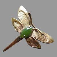Vintage Winard Dragonfly Pin, GF, Jade Circa 1940