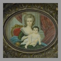 Jewelry Casket with Hand Painted Miniature Portrait of Mother and Child 19th Century