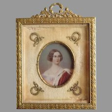 Antique Miniature Painting in French Dore Bronze Frame Circa 1860