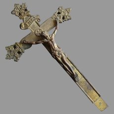 French Cast Metal Crucifix with Corpus Circa 1900, 8.5'