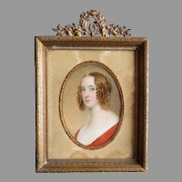 Antique Miniature Painting in Bronze Frame Circa 1840