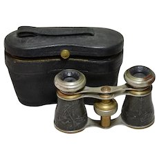 Antique French Field or Opera Glasses with Case, Marked Sportiere Paris circa 1915