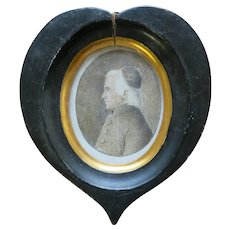 Early Pencil Drawing of Catholic Priest in Folk Art Heart Frame 19th Century