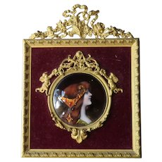 Antique French Limoges Enamel Miniature Portrait, Gilt Bronze Frame, Signed
