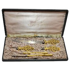 Antique French Writing Set, Five Piece, Original Box, 19th Century
