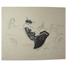 Original Signed Pen and Ink, Couple in Roadster with Cupid in Rumble Seat, Circa 1920's