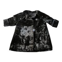 Antique Edwardian Heavy Black Velvet Child's Coat, 4 Enamel Buttons, Sailor Collar Circa 1900