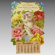 Antique Die-Cut Cat Calendar from General Store, 1908