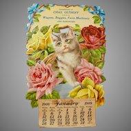 Antique Die-Cut Cat Calendar from General Store, 1908