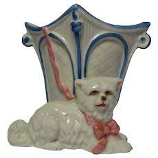 Victorian Porcelain Vase with Dog, Blue H Mark