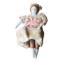 "Antique Bisque Dollhouse Girl 4"", Original Clothes"