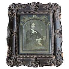 Quarter Plate Daguerreotype of Lady in Original Daguerrean Wall Frame