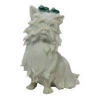 Antique Miniature Parian Bisque Yorkie, Yorkshire Terrier Dog