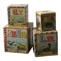Victorian Set of Four Lithograph ABC Stacking Blocks Circa 1900
