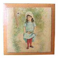 Antique Brooks Thread Advertising Sewing Box, Child Lithograph Circa 1890