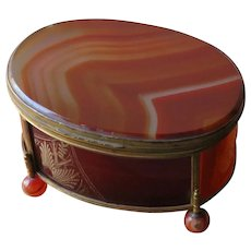 Large Victorian Banded Agate Casket or Jewelry Box 4.5 inches