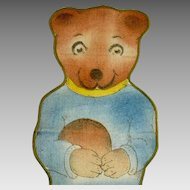 Lithograph Cloth Teddy Bear with Soccer Ball circa 1920