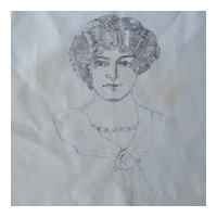 Antique Gibson Girl Lithograph Pillow Sham circa 1900