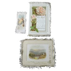 Antique Victorian Christmas Cards, Double sided, Silk fringe, One Signed Raphael Tuck &Sons