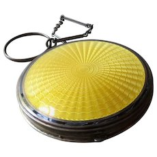 F &B Foster & Bailey Sterling Silver and Yellow Guilloche Enamel Dance Compact with Finger Ring