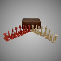 Cased Carved Bone Chess Set, 1920
