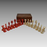 Cased Carved Bone Chess Set, 1920