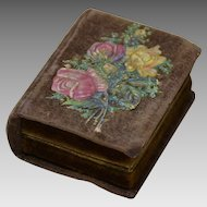Victorian Velvet Needle Box or Needle Case in Form of a Book
