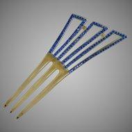 Art Deco Celluloid Hair Comb Blue Rhinestone Circa 1920