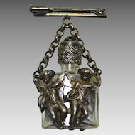 French Perfume Bottle Pin, Vintage Art Nouveau with Cupids