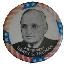 Harry Truman Presidential Campaign Celluloid Pinback Button Pin 1948