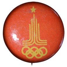 1980 Olympic Games Pinback Button, Soviet Union