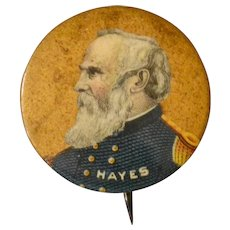 President Rutherford B. Hayes Celluloid Pinback Button Pictured in Civil War Uniform, Bastian Bros.  Circa 1900