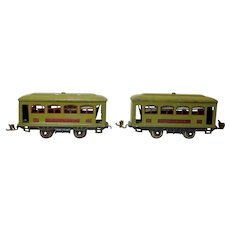 Two Pullman Lionel Tinplate Electric Train Cars, 0 Gauge,  Circa 1920