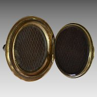 Victorian Hinged Hair Jewelry, Mourning  Pin Circa 1860-1880 1.25 inch