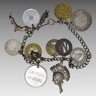 Vintage Transit Token Sterling Charm Bracelet