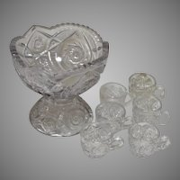 Toy EAPG Punch Bowl Glass Set, Buzz Star Whirligig Pattern, 5 Piece set, Circa 1910