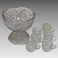 Toy EAPG Punch Bowl Glass Set, Buzz Star Whirligig Pattern, 5 Piece set, Circa 1910