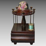 Wooden Thread Holder with Pincushion and Storage Drawer, Mahogany U.S.A. 1880